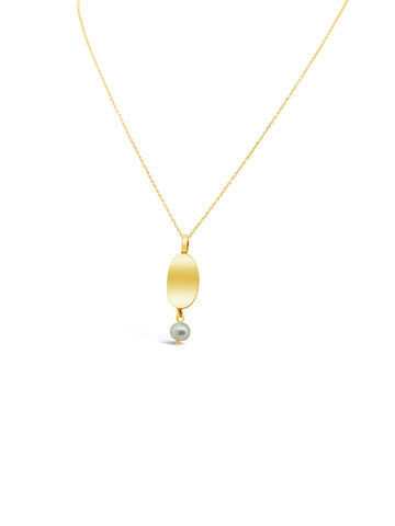 CURVED PEARL NECKLACE, GOLD