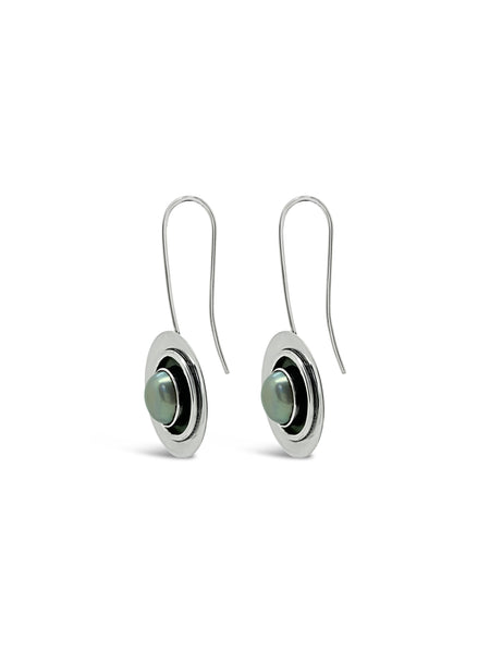 OXIDISED PEARL EARRINGS