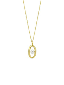 OVAL'D PEARL NECKLACE, GOLD