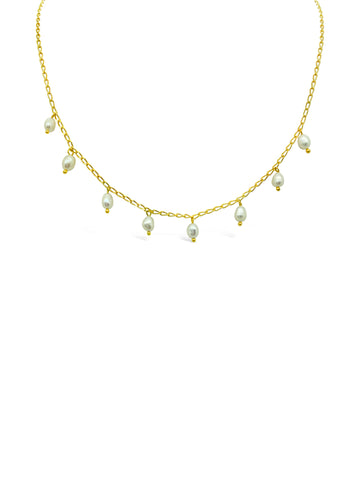 SCATTERED PEARL NECKLACE, GOLD