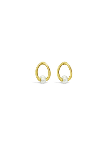 TWISTED PEARL STUD EARRINGS, GOLD