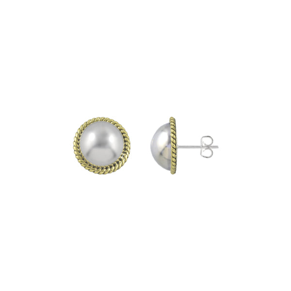 TWO TONE ROPE EDGE BALL EARRINGS