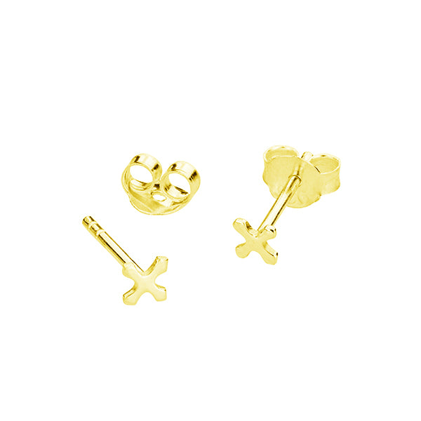 TINY CROSS STUD EARRINGS, GOLD