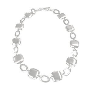 SATIN & POLISHED NECKLACE - SQUARE