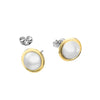 TWO TONE PLAIN EDGE BALL EARRINGS