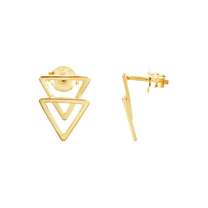 DOUBLE TRIANGLE STUD EARRINGS, GOLD
