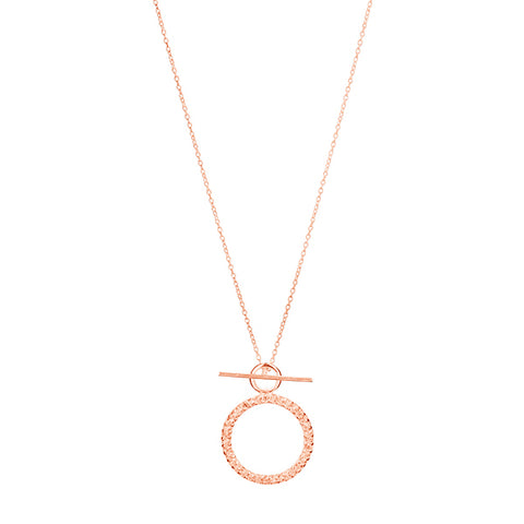CUBIC ZIRCONIA TOGGLE NECKLACE, ROSE GOLD