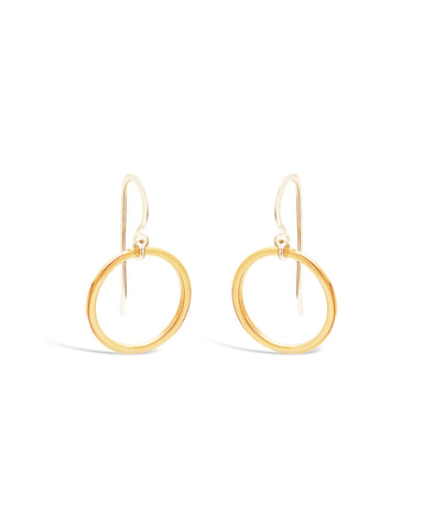 GOLD CIRCLE DROP EARRINGS