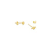 KNOTTED BAR EARRINGS, GOLD