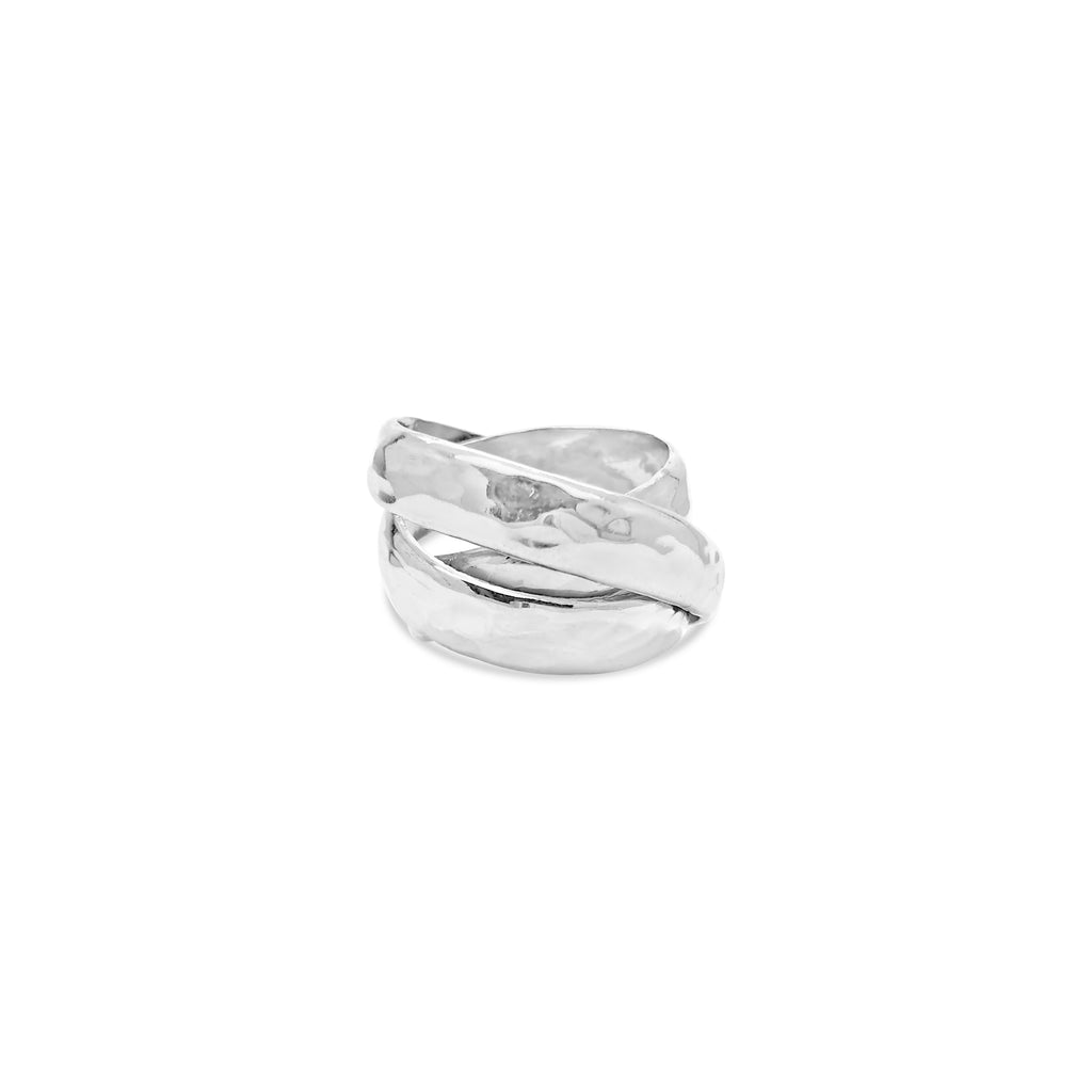 HAMMERED TRIPLE BAND RING