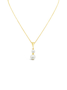 DUO PEARL NECKLACE, GOLD