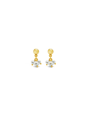 TRIO PEARL CLUSTER EARRINGS, GOLD