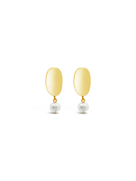 CURVED PEARL EARRINGS, GOLD