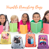 Art series drawstring bags with cute owl design for carrying your wet swimwear, beach towel, library books, sporting needs and a variety of your other favourite items. Use at school or home on the weekend!