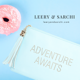 The perfect blue clutch, pouch, pencil case with personality to keep your belongings. Dress up or down. Great for parties or gifts. Adventure Awaits