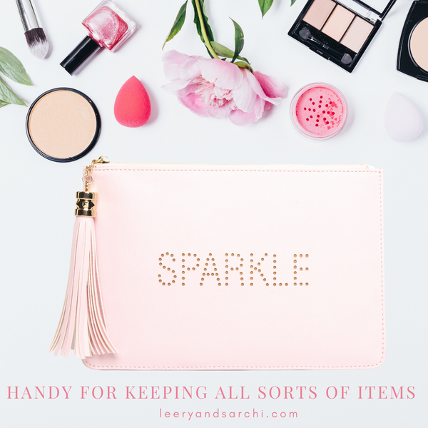"The perfect pink ""Sparkle"" clutch, pouch, pencil case with personality to keep your belongings. Dress up or down. Great for parties or gifts."
