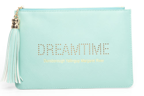 "Dunsborough, Yallingup, Margaret River Region gorgeous women's green ""Dreamtime"" clutch, pouch to complete your look. Clutches with messages, evening & day styles, perfect gifts."