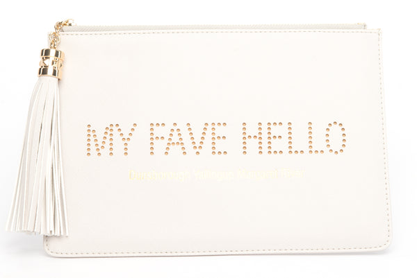 "Dunsborough, Yallingup, Margaret River Region gorgeous women's ""My Fave Hello"" clutch, pouch to complete your look. Clutches with messages, evening & day styles, perfect gifts."