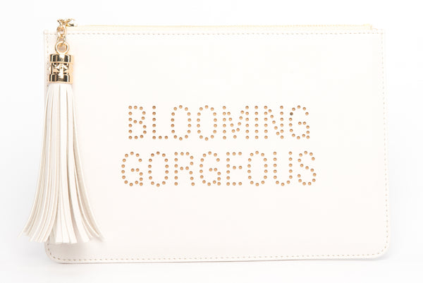 "The perfect ""Blooming Gorgeous"" clutch, pouch, pencil case with personality to keep your belongings. Dress up or down. Great for parties or gifts"