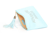 The perfect blue clutch, pouch, pencil case with personality to keep your belongings. Dress up or down. Adventure Awaits