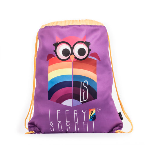 Art series purple drawstring bag with cute owl design for carrying your wet swimwear, beach towel, library books, sporting needs and a variety of your other favourite items. Use at school or home on the weekend!