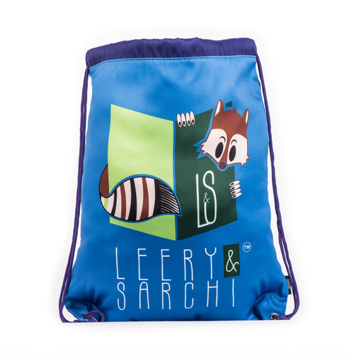 Art series blue green drawstring bag with cute fox design for carrying your wet swimwear, beach towel, library books, sporting needs and a variety of your other favourite items. Use at school or home on the weekend!