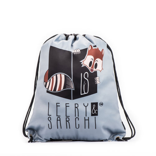 Art series black drawstring bag with cute fox design for carrying your wet swimwear, beach towel, books, sporting needs and a variety of your other favourite items. Use at school or home on the weekend!