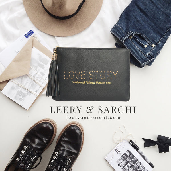 "Dunsborough, Yallingup, Margaret River Region gorgeous women's black ""Love Story"" clutch, pouch to complete your look. Clutches with messages, evening & day styles, perfect gifts."
