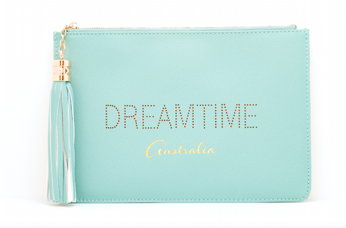 "Love Australia? Gorgeous women's ""Dreamtime"" green clutch, pouch to complete your look. Clutches with messages, evening & day styles, perfect gifts."