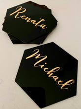 Personalised Hexagon Acrylic Place Cards - Coasters