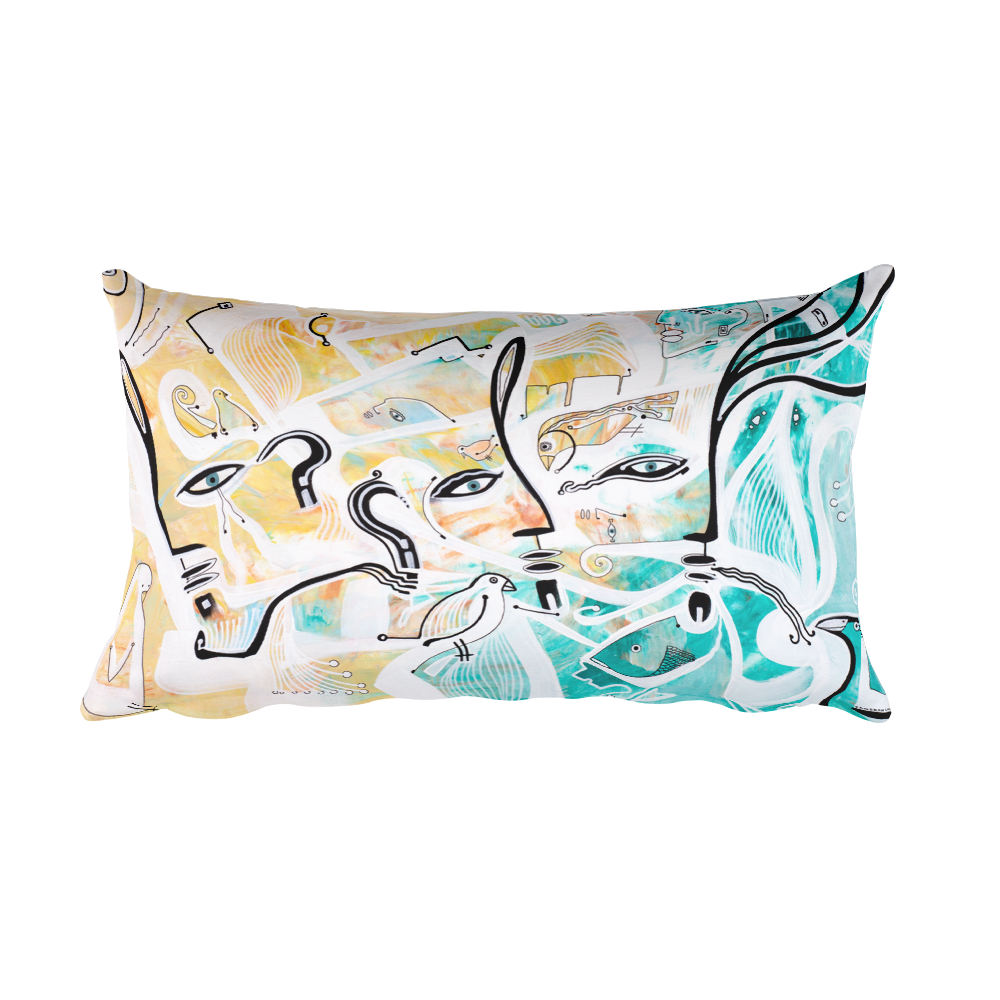 Three Faces Rectangular Pillow