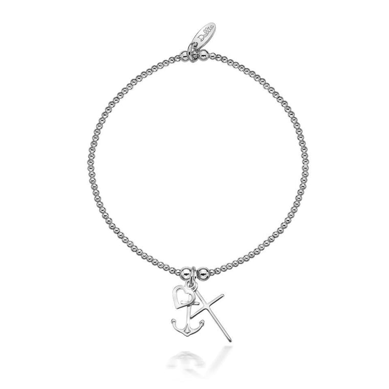 Love, Faith, Hope Silver Bracelet