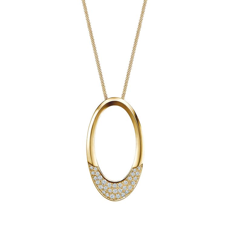 Eva big oval pendant with diamonds