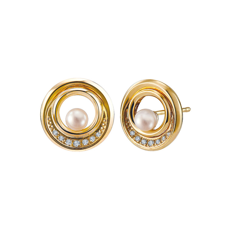Eva earrings with pearl & diamonds