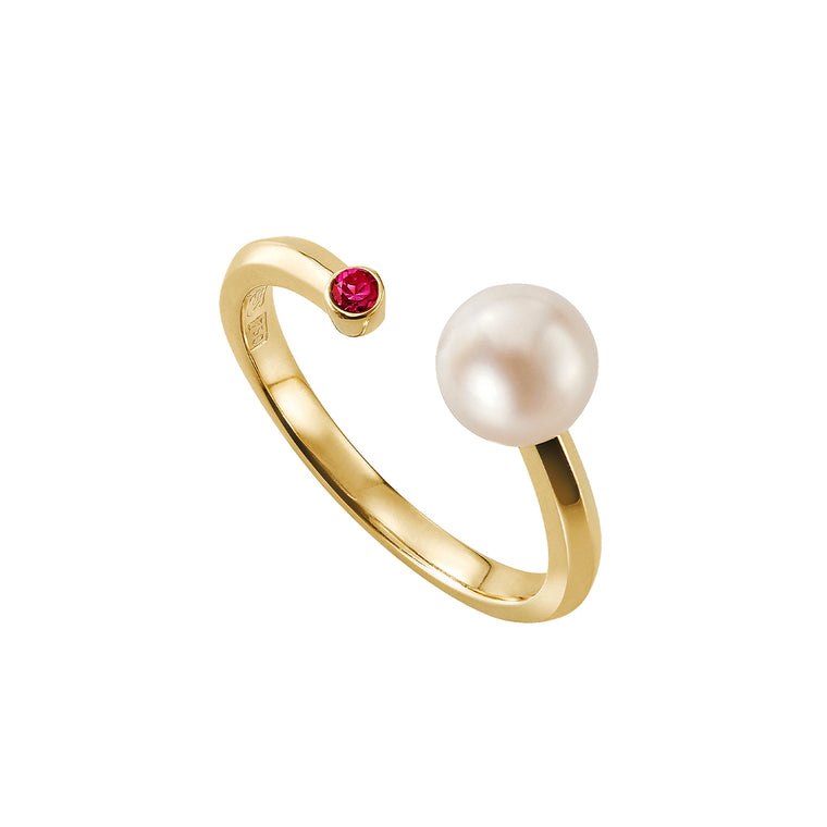 Eva ring with pearl & ruby