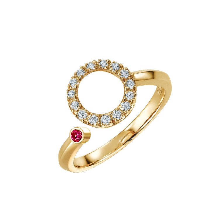 Eva ring with diamonds & ruby