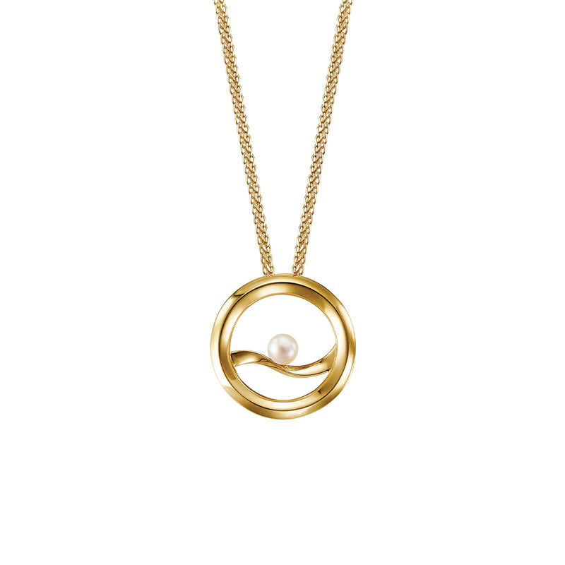 Eva small round pendant with pearl