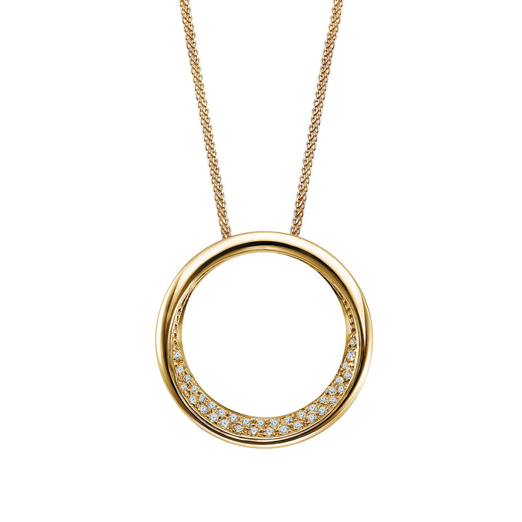 Eva big round pendant with diamonds