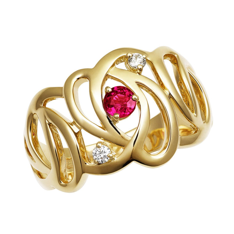 Batik ruby & diamond ring