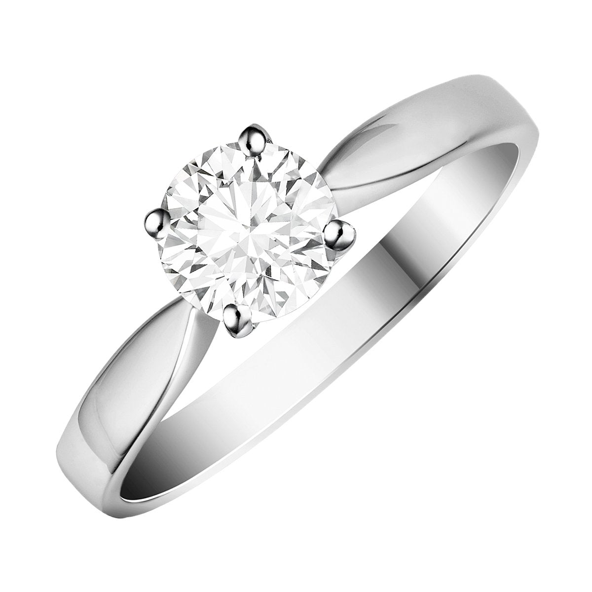 Diamond four-claw solitaire ring