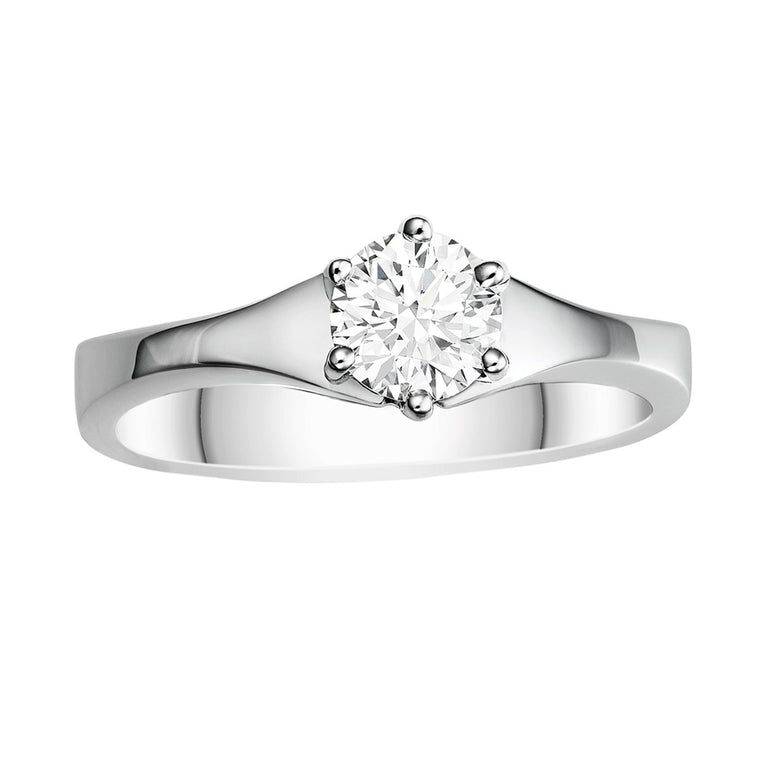 Diamond six-claw solitaire ring