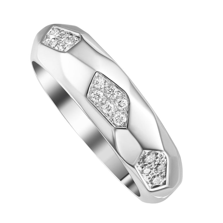 Faceted band with diamonds - narrow
