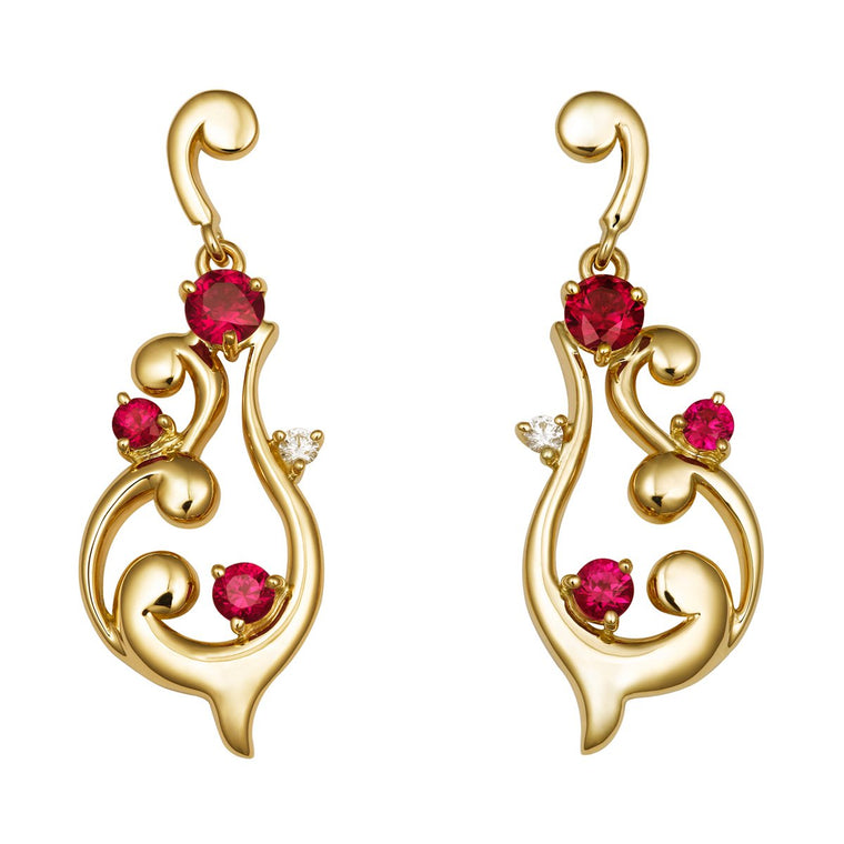Petit Rococo ruby & diamond earrings