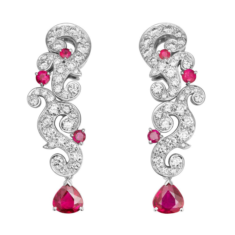 Rococo Reimagined ruby & diamond earrings