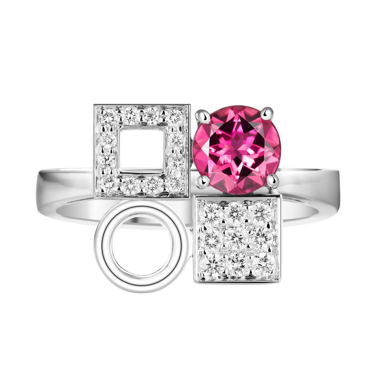 Chantum rubellite & diamond ring