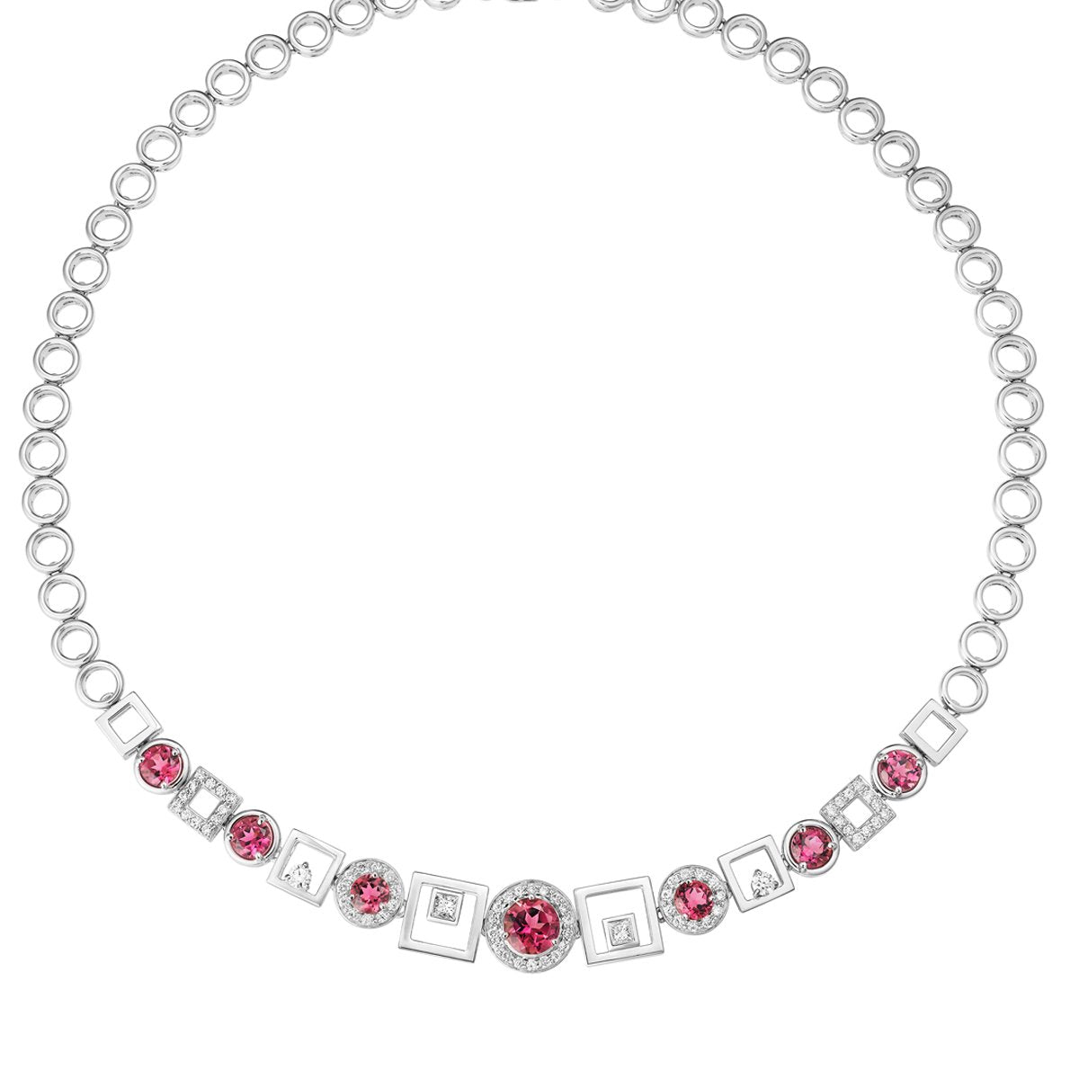Chantum rubellite & diamond necklace