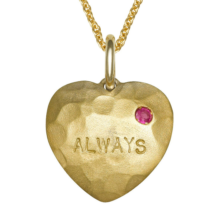 Love Tag pendant with ruby