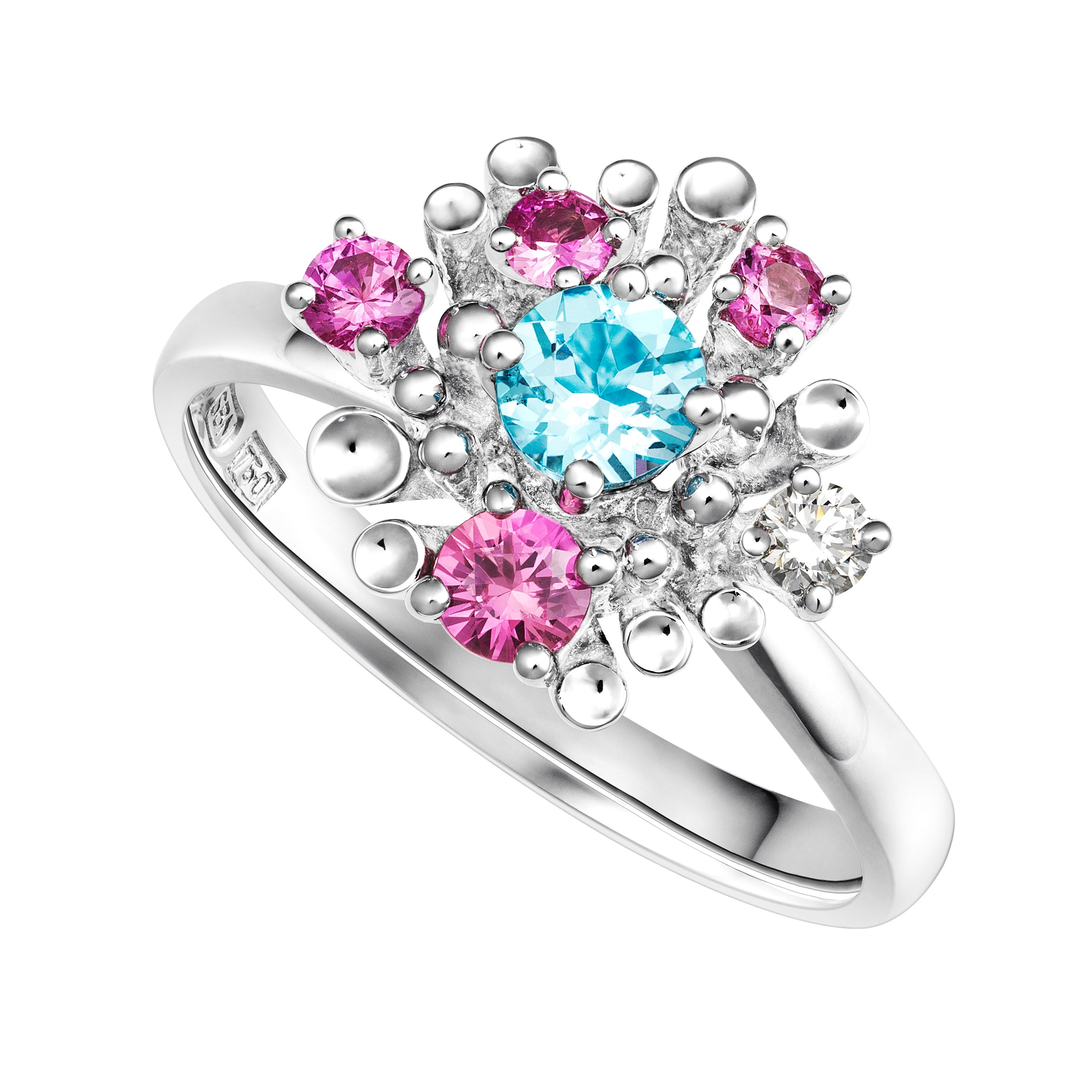 Dita Blue Topaz, Pink Sapphire and Diamond Ring