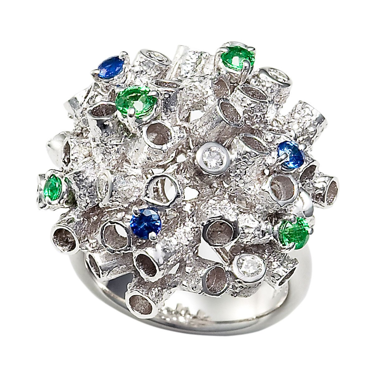 Archive Collection sapphire, tsavorite & diamond ring
