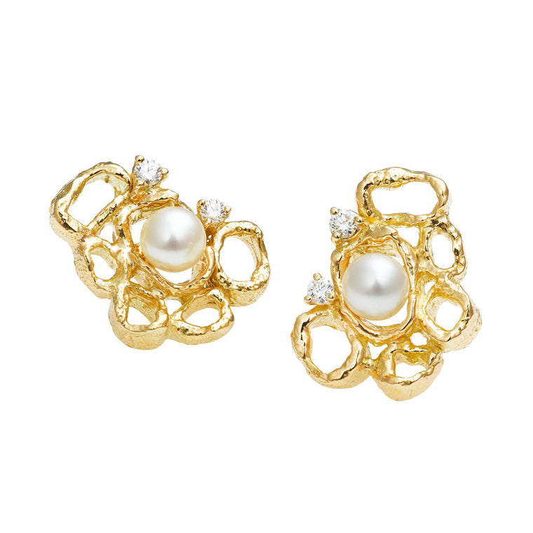 Serene pearl & diamond earrings